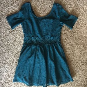 Teal lace overlay half sleeve mini dress